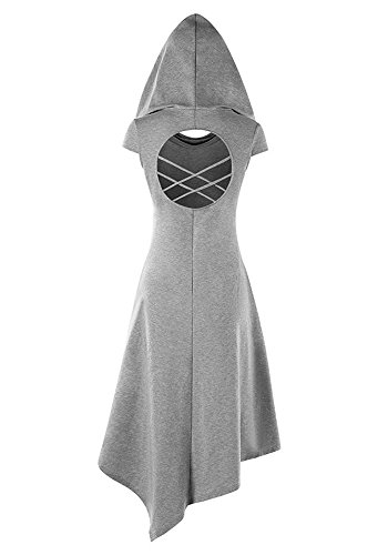 Foshow Cap Sleeve Dress Hooded Criss Cross Cut Out Handkerchief Midi Cosplay Dresses with