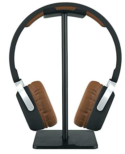 24x7 eMall Headphone Stand Headset Holder Earphone Stand with Aluminum Supporting Bar Flexible Headrest ABS Solid Base for All Headphones Size (Square Black 2)