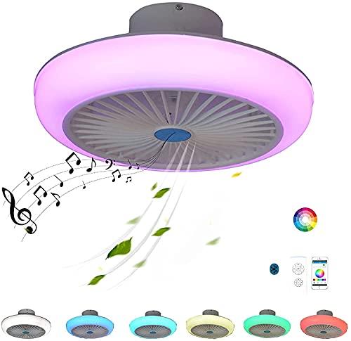 Luz del ventilador de techo, Luces de ventilador de techo inteligente, LED Ventilador de techo moderno con control remoto ligero Bluetooth Altavoz Bluetooth Música Cambio de color RGB Dimmable Silent