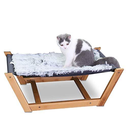 Bingopaw Erhöhtes Katzenbett Hundebett, Bambus Katzen Hängematte katzensofa mit atmungsaktivem Netz und weiche Plüsch Katzenmatte, Katzenliege Höhe in 24cm
