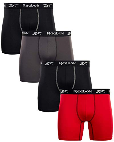Reebok Men's Performance Boxer Briefs with Comfort Pouch (4 Pack) (Black/Red/Grey, Medium)