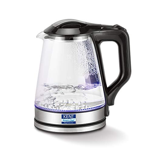 KENT 16023 Electric Glass Kettle 1.7 L | 1500W | Stainless Steel Heating Plate | Borosilicate Glass Body | Boil Drying Protection | 360° Rotating Base