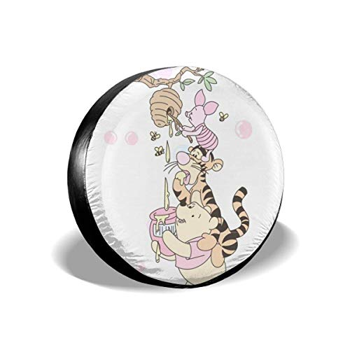 GOSMAO Win-nie The Pooh con Cubierta de llanta de Repuesto Honey, Cubierta de Rueda Universal de poliéster Impermeable a Prueba de Polvo para Viajes de RV SUV, 16 Pulgadas