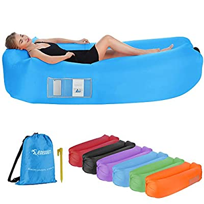 EDEUOEY Inflatable Lounger Air Sofa: Waterproof Beach Travel Outdoor Recliner Gift Filled Sleeping Accessories Blow Up Pouch Wind Inflatbale Bag Blowup Natures Hammock Folding Chair Camping Couch