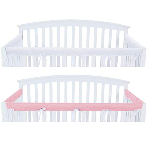 3 - Piece Crib Rail Cover Protector Safe Teething Guard Wrap for Standard Crib Rails, Fit Side and Front Rails, Pink/White, Reversible, Safe and Secure Crib Rail Cover.