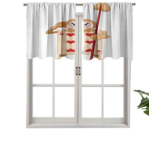Hiiiman Cortinas cortas opacas con bolsillo para barra, ilustración con seis corazones de Alice Fiction, juego de 1, cenefas pequeñas de media ventana de 132 x 45 cm para dormitorio