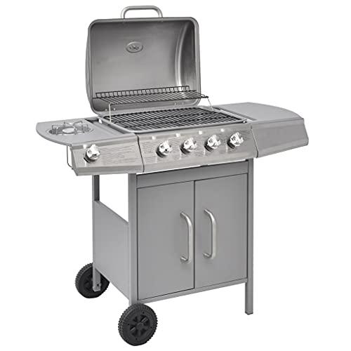 CDPC Griglia per Barbecue a Gas 4 + 1 Griglia da Giardino a 4 fuochi con bruciatore Scorrevole e Contenitore