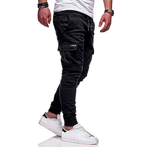 Riou Herren Cargohose Jogger Lange Stretch Jogginghose Slim fit Multi-Pocket Chino Hose Freizeithose Arbeithose