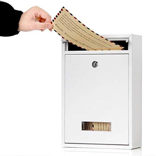 HWF Briefkasten An der Wand montiert Briefkasten Weiß schwarz, Abschließbar Metall Briefkasten mit Schlüsseln und Anzeigefenster, Postfächer für Outdoor/Haustür/Garage/Schule (Color : White)