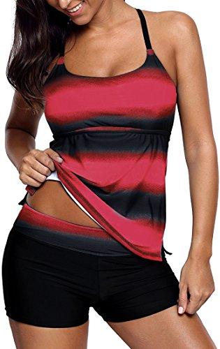 EUDOLAH Damen Mehrfarbig X-Back Tankini mit Hotpants Shorts Bademode mit Bügeln UV Schutz (XL, Rot)