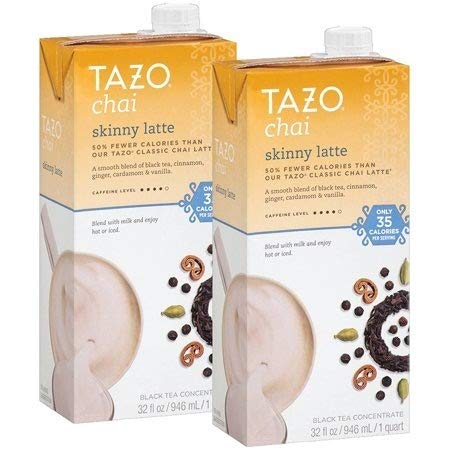 Tazo Chai Skinny Latte Black Tea Concentrate 32 oz (Pack of 2)