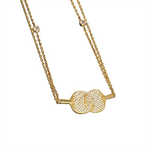 Fiauli Cadena de clavícula para mujer, con colgante de pingpong, cadena para mujer, ligera, con placa, collar con grabado delicado para mujer, accesorio para aniversario