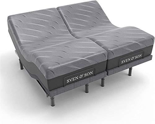 Sven & Son Split King Adjustable Bed Base Frame Platinum (Individual Head Tilt & Lumbar) + 14