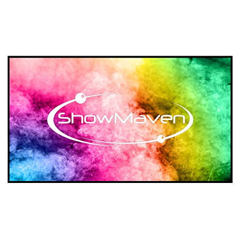 ShowMaven 120in Fixed Frame Projector Screen, Edge Free Borderless Projector Screen, Diagonal 16:9, Active 3D 4K Ultra HD Projector Screen for Home Theater or Office