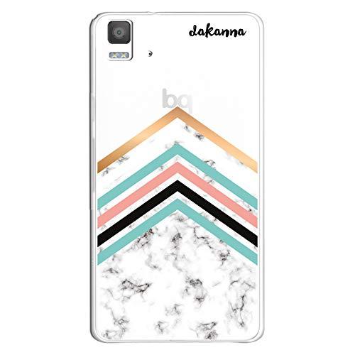 dakanna Funda Compatible con [Bq Aquaris E5 4G - E5S] de Silicona Flexible, Dibujo Diseño [Pattern de mármol Blanco y Negro con líneas geométricas], Color [Fondo Transparente] Carcasa Case Cover Gel