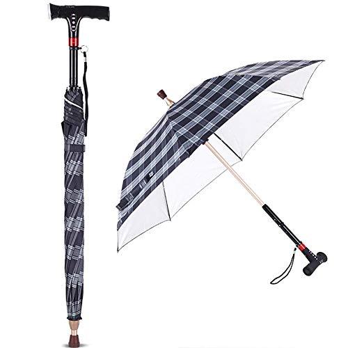 YCLHW 2-In-1 Multi-Funktions-Walking Stöcke Regenschirm Mit Licht-Radiowecker, Windschutz Cane Krücke Rippen Regenschirm Klettern, Wandern, 86Cm