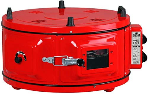 Mini Backofen Runder Ofen Fladenbäcker Standbackofen Pizzaofen mit Thermostat | Emailliert | 1300 W | 40 Liter | 50°-300°C | Rot