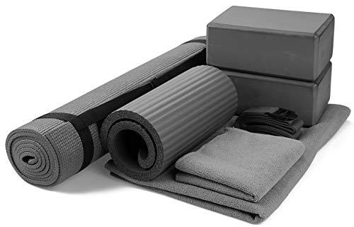 BalanceFrom GoYoga 7Piece Set  Include Yoga Mat with Carrying Strap 2 Yoga Blocks Yoga Mat Towel Yoga Hand Towel Yoga Strap and Yoga Knee Pad Gray 1/4quotThick Mat