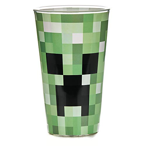 Paladone PP6729MCF Pixelated Creeper Glas | Trinkbecher 450 ml | perfekte Idee für Minecraft Fans