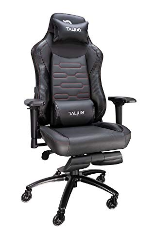 Talius Konda Silla Gaming Profesional Carbono Negra/Roja, con reposapiés Extraible, Ajuste Lumbar, Inclinación y Altura Regulable, reposabrazos 4D Ajustables