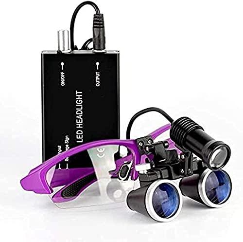 JeeKoudy Lupa Dental, Lupa con luz, 3.5X-420 Lupas binoculares quirúrgicas dentales médicas con Faros LED de 5 W, para cirugía plástica ENT Medica