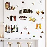 decalmile Pegatinas de Pared Cocina Cerveza Botella Vinilos Decorativos Copa de Vino Adhesivos Pared Comedor Sala Salón Bar Armario