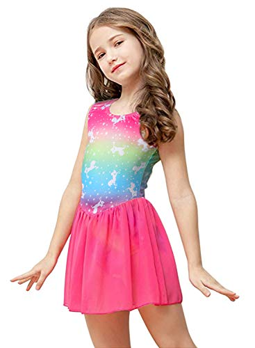 Kidsparadisy - Body da danza con gonna in tulle senza maniche e arcobaleno