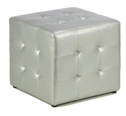 Cortesi Home Apollo Cube Ottoman, Metallic Silver Faux Leather