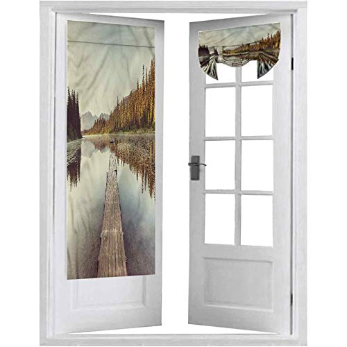 Room Darkening French Door Curtains, Fall,Wooden Pier on The Lake, 1 Panel-26' X 68' for Window Door Curtains