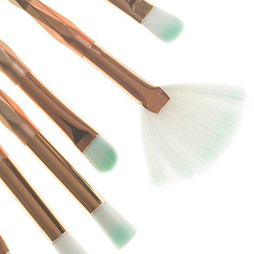 WOZOW 10 Pinceaux de Maquillage Set Professionnel visage ombre à paupières Eyeliner Foundation Blush(Multicolore C)
