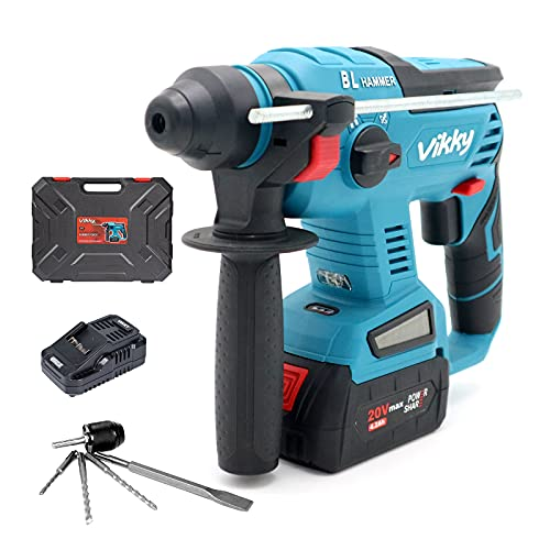 Vikky 20V SDS Plus rotary hammer drill, brushless cordless demolition hammer kit, with 4.2Ah battery and charger, 4 functions, suitable for drill bits, point/flat/U-shaped chisels