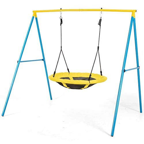 COSTWAY Saucer Swing Set with Metal Frame and Ground Nails, Height...