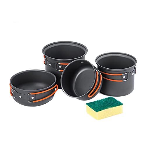 BYZYA Camping Kit de Utensilios de Cocina, Camping al Aire Libre 4 en 1 Picnic Pot 2-3 Persona Camping Pot Conjuntos Potporable Al Aire Libre Utensilios de Cocina Picnic Pot