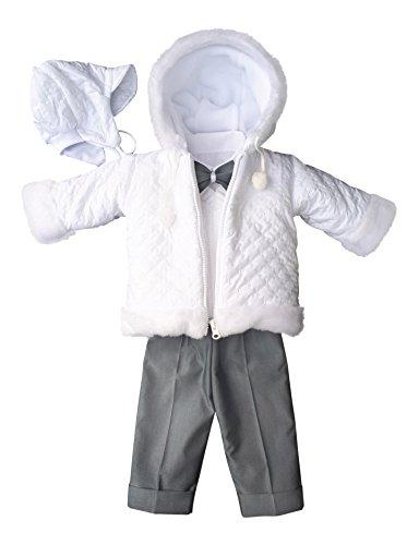 YES Set Winter Taufanzug Festanzug Jacke Winterjacke Hose Hemd Taufe Baby Anzug, Adam, Gr.68, weiß-grau