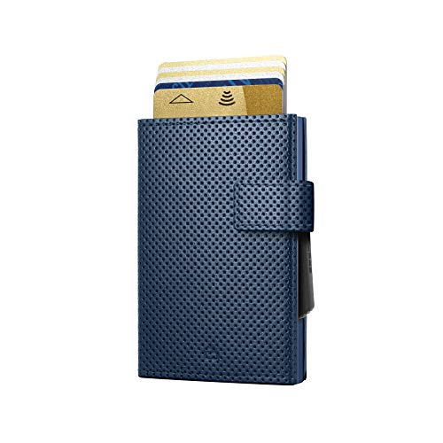 Ögon Smart Wallets - Cascade Wallet Cierre con presión - Cartera automática de Aluminio y Piel - Tarjetero RFID antirrobo - 8 Tarjetas y Billetes - Cuero Traforato Azul/Aluminio Azul