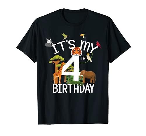It's My 4th Birthday Boy Zoo Tema 4 anni Festa con animali Maglietta