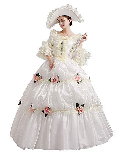 Rokoko Barock Marie Antoinette Ballkleider 18. Jahrhundert Renaissance Historische Zeit Viktorianisches Kleid Gewand Mittelalter Kleid - - X-Small:Höhe 61-63 Bust 32-33 24-25W