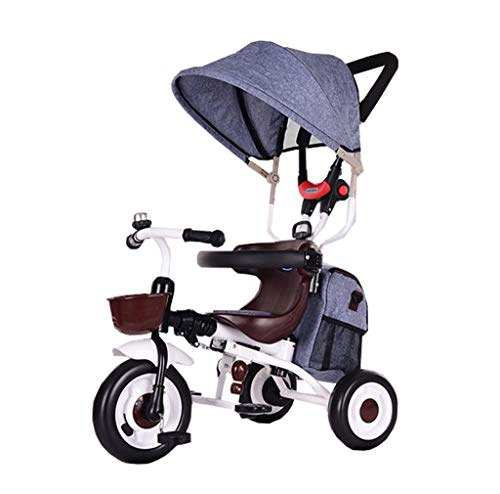 For Sale! Kids' Tricycles Foldable Child Tricycle Solid Tire 3-in-1 for 6 Months to 6 Years Old Boy and Girl Trolleys with Awning Children's Outdoor Riding (Color : Gray)
