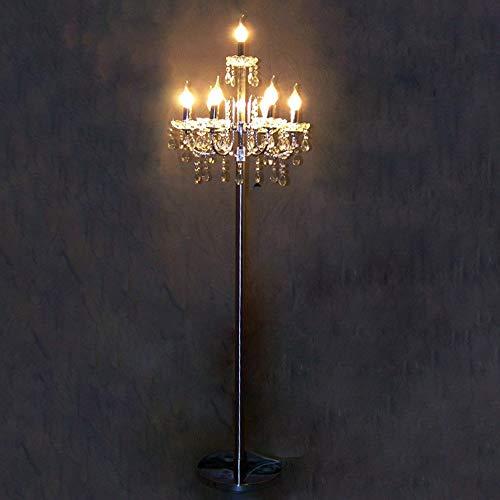 Freies Verschiffen Silber E14 führte Fußbodenlampe Gaststättehochzeitskerzenhalter-Kristallkandelaberschlafzimmerfußbodenlicht,7lightsluxury