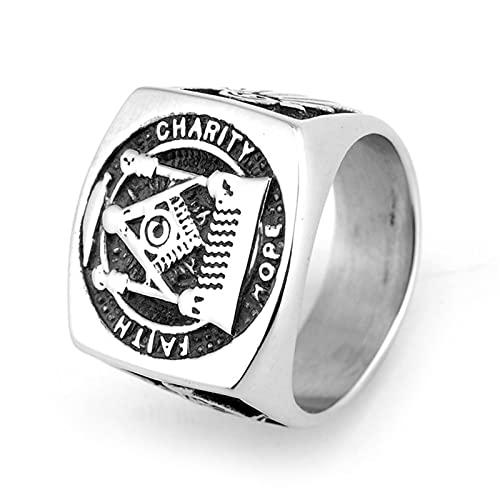 HHW Individualidad Europea Y Americana Retro Masonic Hombres Anillo De Acero De Titanio Joyería De Moda Punk,Plata,10
