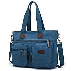 Blue canvas tote for work with multiple pockets