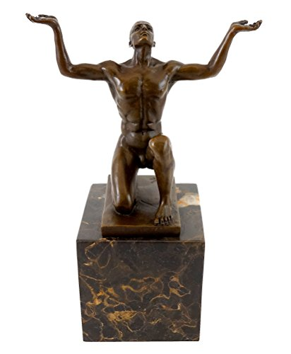 Bronzeskulptur - Kniender Adonis - signiert - Milo - Moderne Kunst Bronzefigur - Kraftsport - Training - Kraftsport Figur - Skulptur