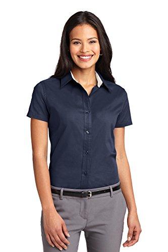 Port Authority Ladies Short Sleeve Easy Care Shirt. L508 [Apparel] Navy/Light Stone