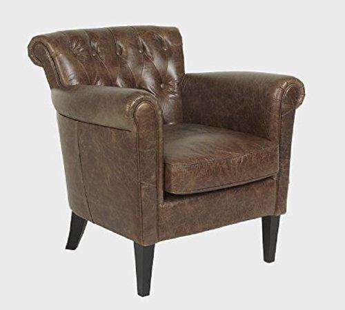 Luxe fauteuil, stoel Chester Leer Texas Bruin