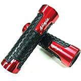 Kyobusa Red Carbon Look Aluminum Motorcycle 22mm Engraved Handle Bar Rubber Gel Hand Grips CNC Bar End 7/8' for Kawasaki Ninja 300 400 650 250 1000 ZX6R ZX10R ZX12R ZX14R 650R 250 R