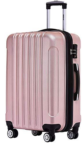 BEIBYE TSA Schloß 2050 Hartschale Trolley Koffer Reisekoffer in M-L-XL-Set (Rosa Gold, 66cm)