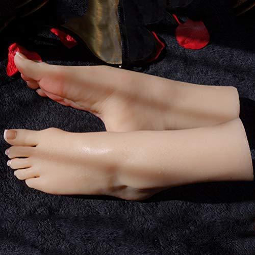 Yeah-hhi TPE Mannequin Fuß 22 cm Sexy Schleife Fuß Modell für Sandalen Schuhe Socken Zubehör Shop Store Display, Nude, Bone~1 pair