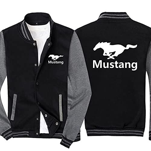 S-vision Chaquetas de Sudadera para Hombre para Ford Mustang Sudadera Estampada Uniforme de béisbol Chaqueta de chándal Informal de Manga Larga - Regalo para Adolescentes