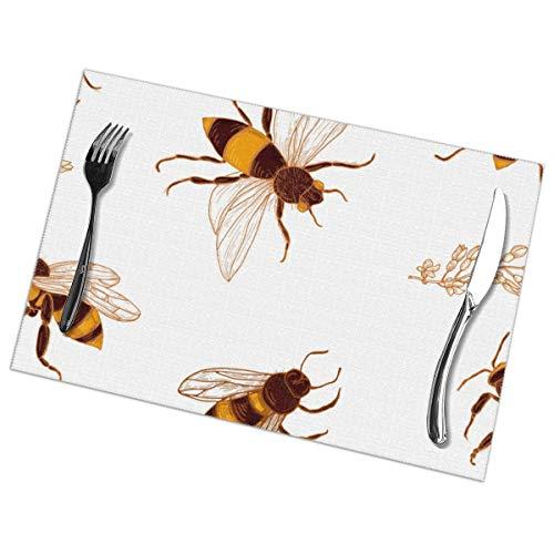 NOBRAND Honing Bijen en Acacia Plant Placemat Wasbaar Voor Keuken Diner Tafelmat, Gemakkelijk te reinigen Makkelijk Te Vouwen Plaats Mat 12x18 Inch Set Van 6