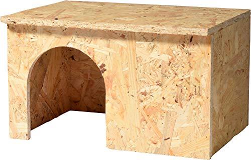 dobar 80017 Meerschweinchen-Haus aus Holz, Nagerhaus für Verschiedene Kleintiere, 25 x 18 x 15 cm, Natur